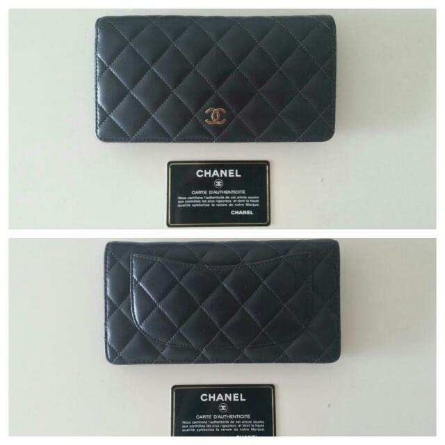 74d47e20351d Authentic CHANEL lambskin L-Yen Long Wallet   Rare GREY Colour ...