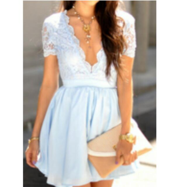 Lace deep V Neck Dress