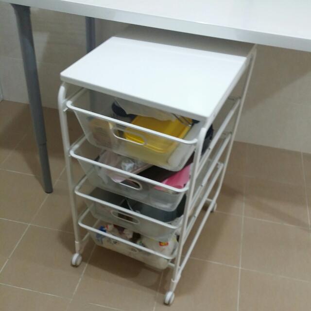 Further Markdown - Mobile Wiremesh Shelf  4 Drawers