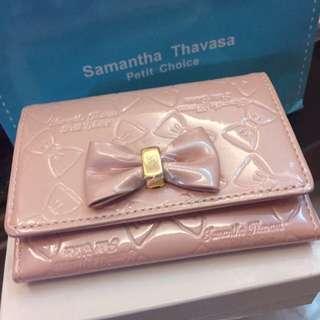 Samantha Thavasa珍珠粉蝴蝶結卡夾