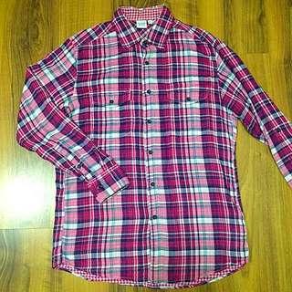 Uniqlo 粉紅格紋襯衫