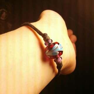 【手作小物】孔雀紋琉璃珠手環
