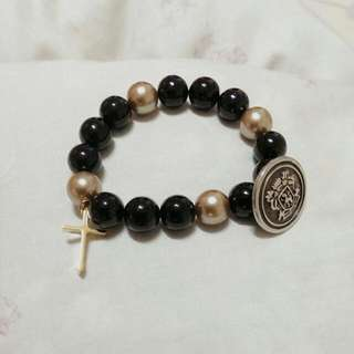 黑金 十字盾 手環