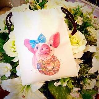 NEW⚡️萬用帆布抽繩小袋❤︎(Piggy)