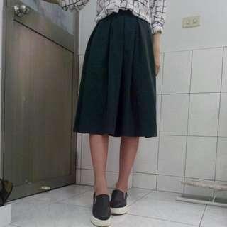 深綠復古高腰長裙(含運)