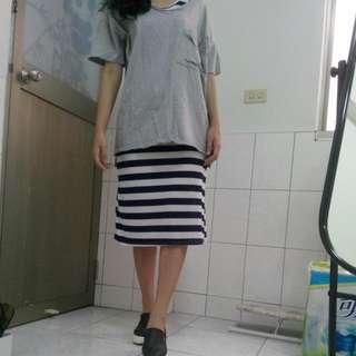條紋背心長裙(含運)