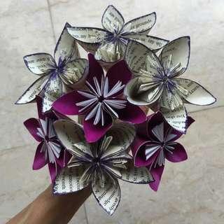 Rustic Book Origami Hand Bouquet