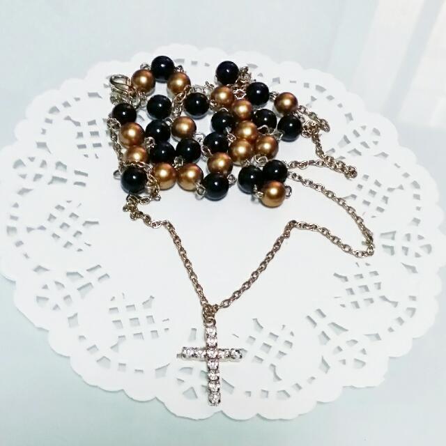 鑽面珠 十字架 手鍊