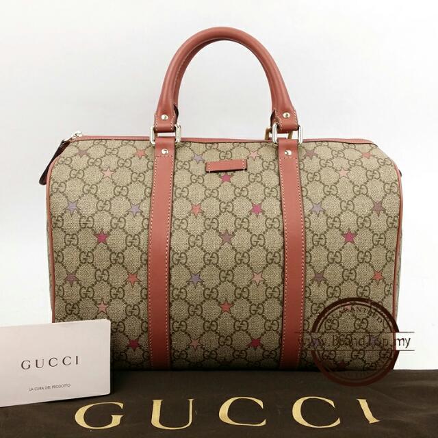1fa648d3896f8f 💯% Authentic Gucci Joy GG Supreme Stars Canvas Boston Bag, Luxury ...