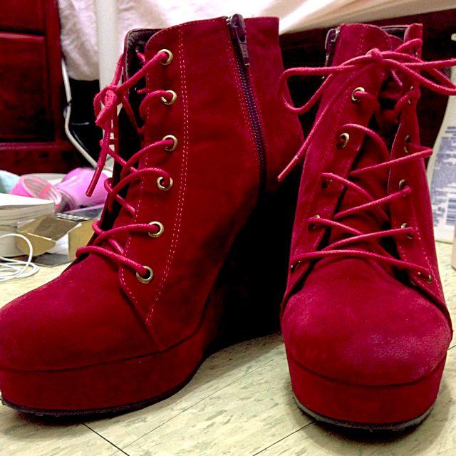 Gracegift暗紅榭型高根靴