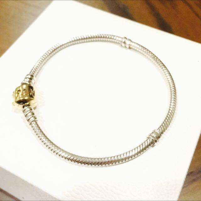 (保留)Pandora 14k金頭 純銀手鍊 18cm