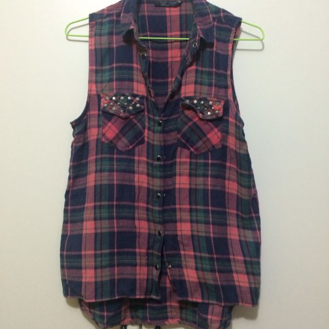 Topshop Checkered High-low Shirt With Studs.