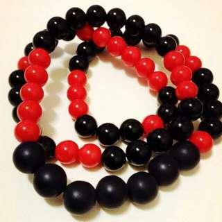 紅黑三圈式手環
