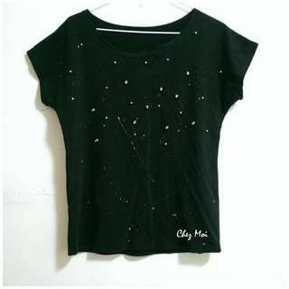 (二手) 破壞風珠珠款Tshirt(黑)