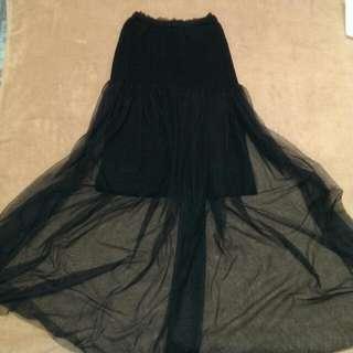 黑色毛料平口小洋裝
