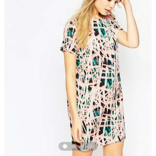 a3d40f1f4d5 ASOS SHIFT DRESS IN ABSTRACT PRINT