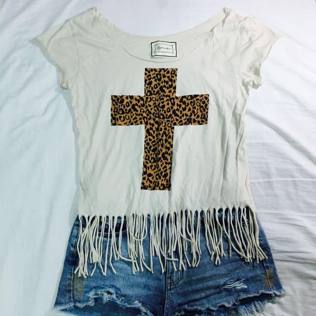 豹紋十字架流蘇上衣