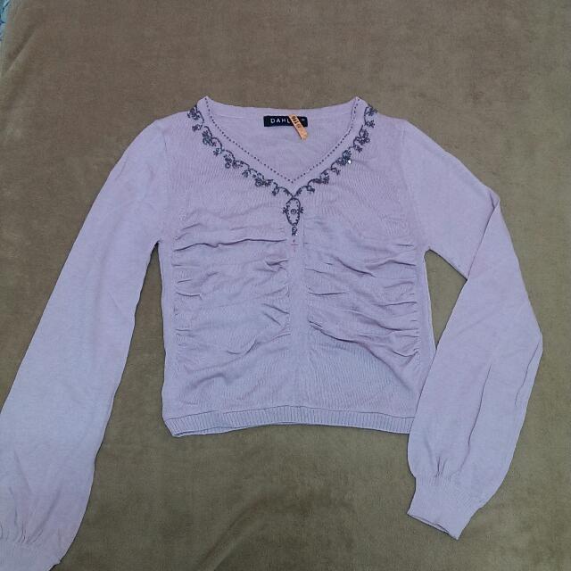 粉紫針織長袖