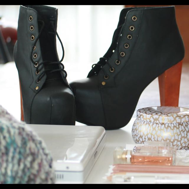 Jeffrey Campbell Black Distressed Lita W/ Box And Dustbag