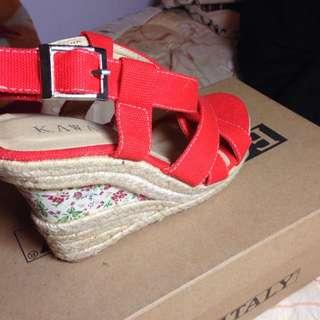 羅馬風竹編楔型涼鞋