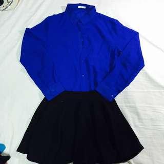 靛藍色雪紡紗襯衫