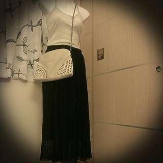 顯瘦🔹特價🔸韓版黑色雪紡百摺長裙