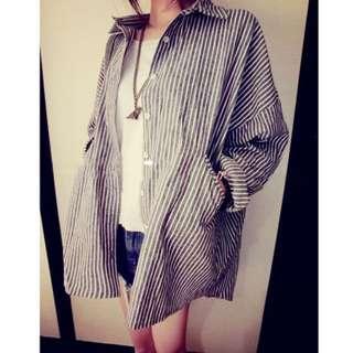 棉紋長袖襯衫