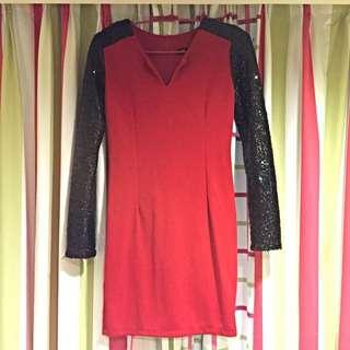 性感大紅色洋裝