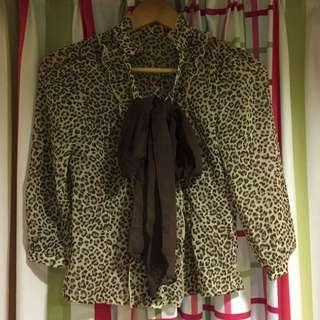 豹紋雪紡紗襯衫