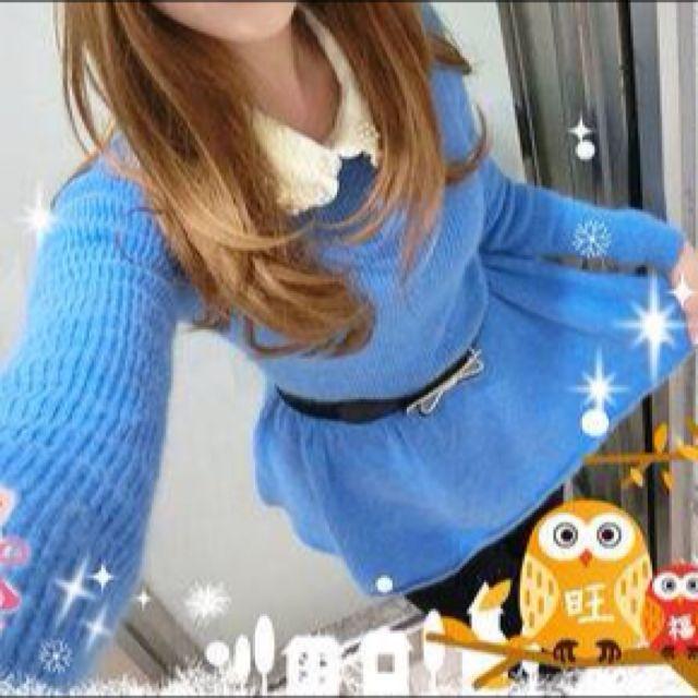 藍色連身毛衣裙
