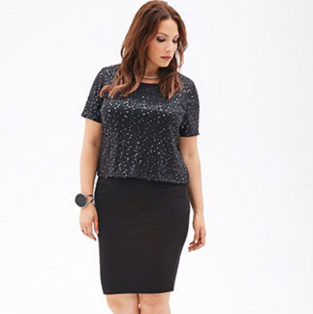 2d363df2b60 Plus Size  Forever21+ Sequined Crop Top Size XL