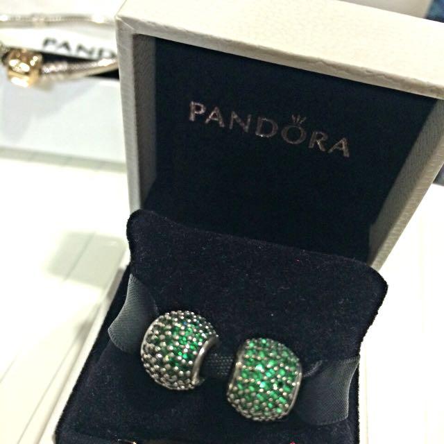 PANDORA 綠滿鑽ㄧ對
