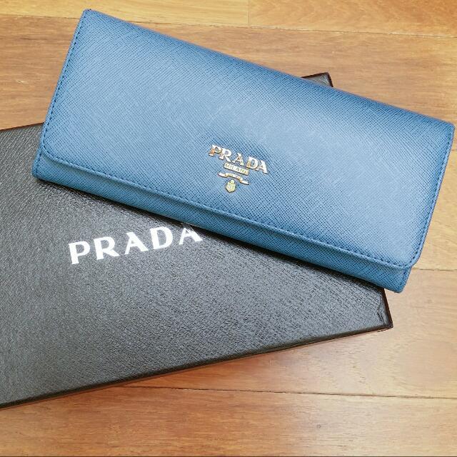db814b43889c Prada Saffiano Continental Wallet in Blue /Azzuro, Women's Fashion ...