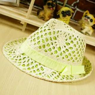 🚚 (出清特價399含郵)螢光綠鏤空雙層紳士帽421266✈®_LADY