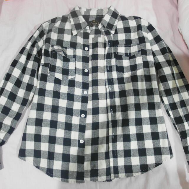 (二手)黑白格紋襯衫