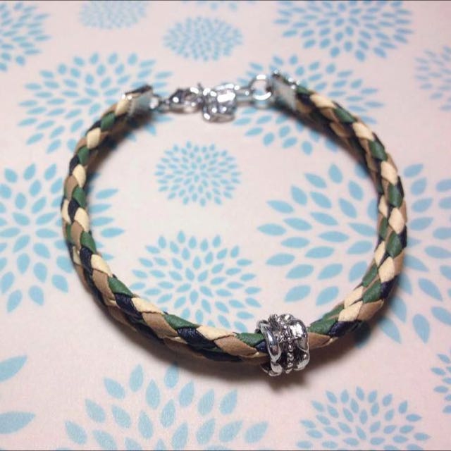 個性四色編織皮繩手環(雙圈)
