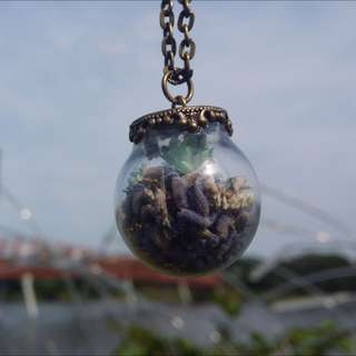 Lavender Bliss (Blue) - Flower (Dome) Glass Necklace
