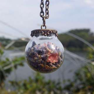 Lavender Bliss (Pink) Flower (Dome) Glass Necklace