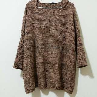 ✌毛衣一 橘黑混織
