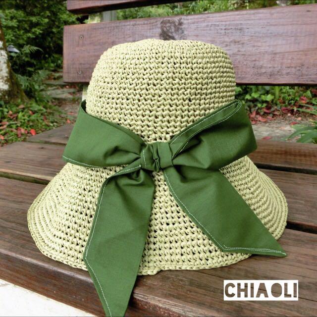 **手工編織帽**日系蘋果綠帽