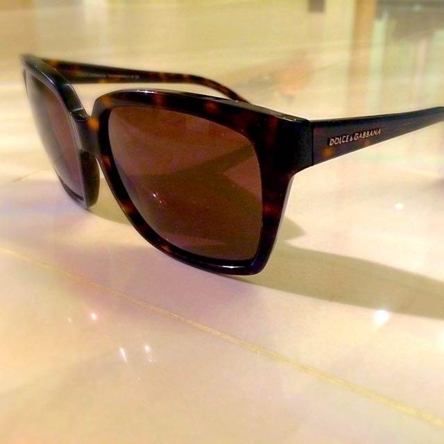 正品DOLCE & GABBANA虎珀膠框太陽眼鏡