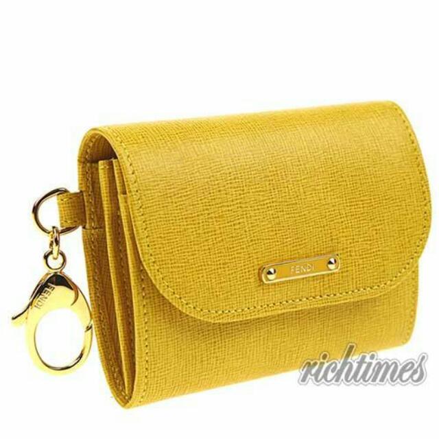 Fendi黃色皮革零錢鑰匙圈包 保證正品 三折出售