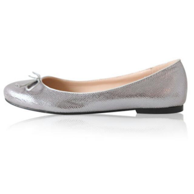Mooncat銀色平底娃娃鞋