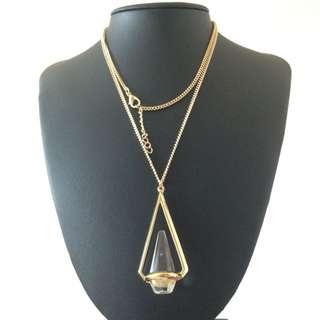 Prism Gem Gold Necklace White