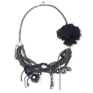 Black Flower Chain Statement Necklace