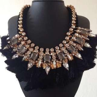 Black Tassel Diamond Statement Necklace