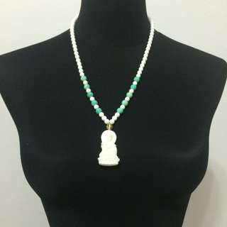 BN White Corals Guan Yin Necklace