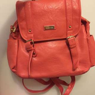 肩背後背手提包包 橘粉色