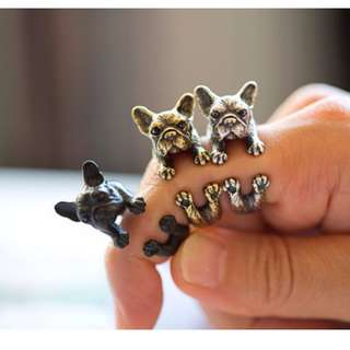[PO] My Pet Frenchie Ring - Quirky, Vintage, Perfect Gift for dog / pet lovers! [ Gold | Silver | Black ]