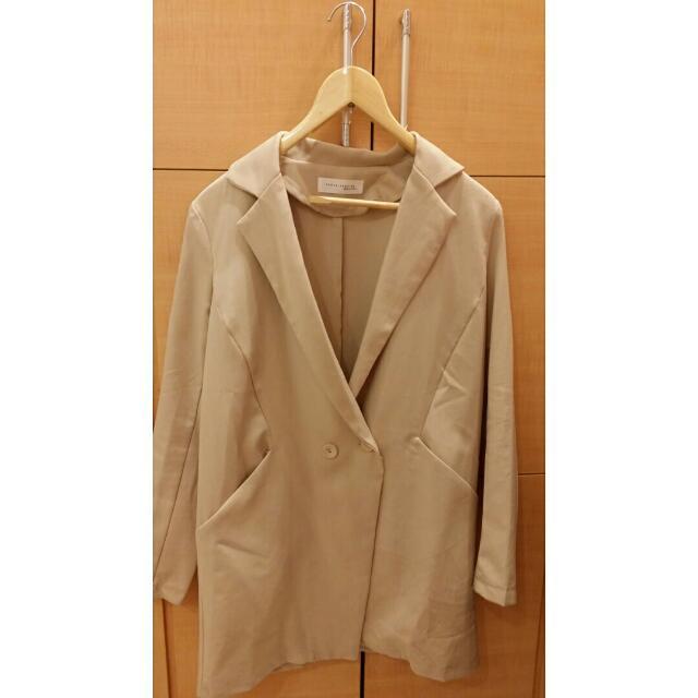 韓版杏色長版西裝外套